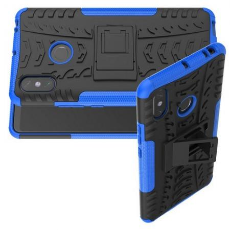 Двухкомпонентный Противоскользящий Гибридный Противоударный Чехол для Xiaomi Mi Max 3 с Подставкой Синий