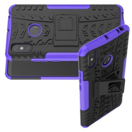 Двухкомпонентный Противоскользящий Гибридный Противоударный Чехол для Xiaomi Mi Max 3 с Подставкой Фиолетовый