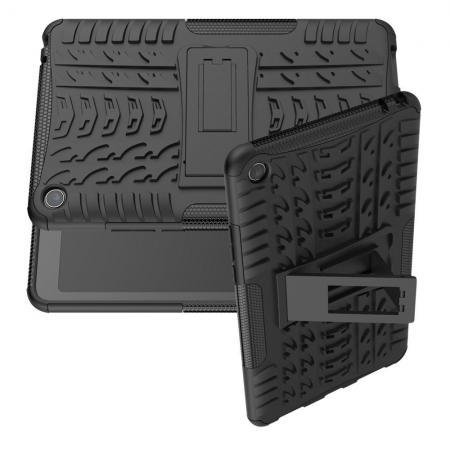 Двухкомпонентный Противоскользящий Гибридный Противоударный Чехол для Xiaomi Mi Pad 4 с Подставкой Черный