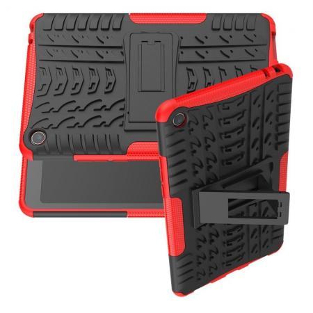 Двухкомпонентный Противоскользящий Гибридный Противоударный Чехол для Xiaomi Mi Pad 4 с Подставкой Красный