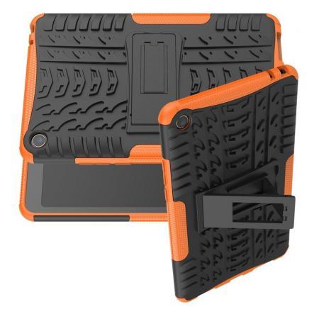 Двухкомпонентный Противоскользящий Гибридный Противоударный Чехол для Xiaomi Mi Pad 4 с Подставкой Оранжевый