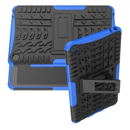 Двухкомпонентный Противоскользящий Гибридный Противоударный Чехол для Xiaomi Mi Pad 4 с Подставкой Синий