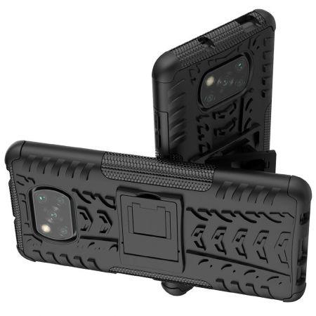 Двухкомпонентный Противоскользящий Гибридный Противоударный Чехол для Xiaomi Poco X3 NFC с Подставкой Черный