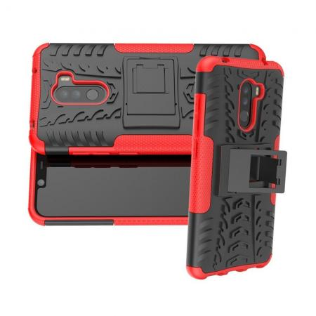 Двухкомпонентный Противоскользящий Гибридный Противоударный Чехол для Xiaomi Pocophone F1 с Подставкой Красный