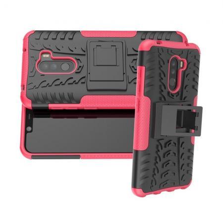 Двухкомпонентный Противоскользящий Гибридный Противоударный Чехол для Xiaomi Pocophone F1 с Подставкой Розовый