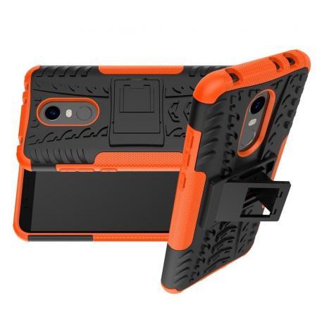 Двухкомпонентный Противоскользящий Гибридный Противоударный Чехол для Xiaomi Redmi 5 Plus с Подставкой Оранжевый