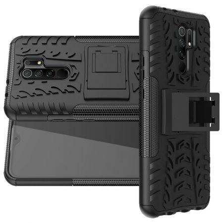 Двухкомпонентный Противоскользящий Гибридный Противоударный Чехол для Xiaomi Redmi 9 с Подставкой Черный