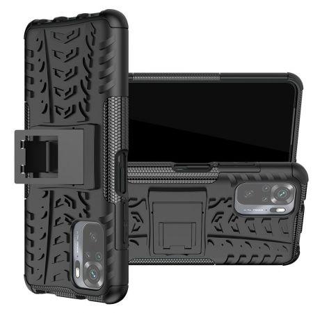 Двухкомпонентный Противоскользящий Гибридный Противоударный Чехол для Xiaomi Redmi Note 10 с Подставкой Черный