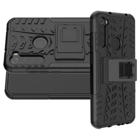 Двухкомпонентный Противоскользящий Гибридный Противоударный Чехол для Xiaomi Redmi Note 8T с Подставкой Черный