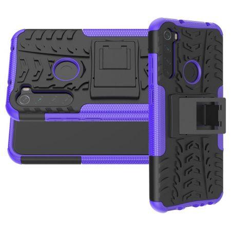 Двухкомпонентный Противоскользящий Гибридный Противоударный Чехол для Xiaomi Redmi Note 8T с Подставкой Фиолетовый