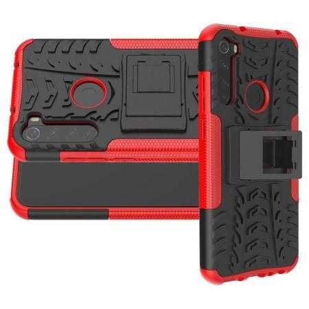Двухкомпонентный Противоскользящий Гибридный Противоударный Чехол для Xiaomi Redmi Note 8T с Подставкой Красный