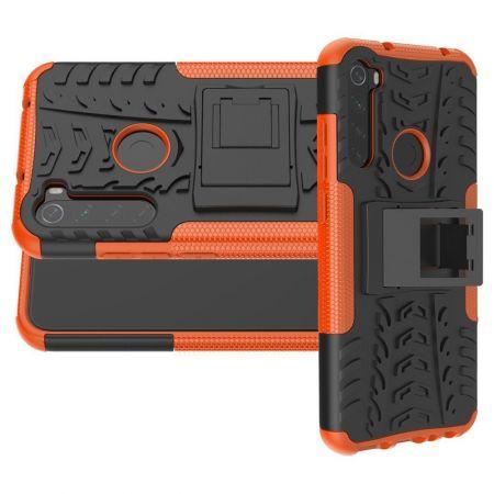 Двухкомпонентный Противоскользящий Гибридный Противоударный Чехол для Xiaomi Redmi Note 8T с Подставкой Оранжевый