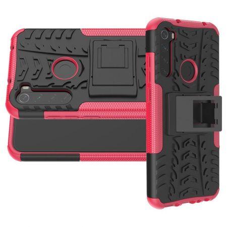 Двухкомпонентный Противоскользящий Гибридный Противоударный Чехол для Xiaomi Redmi Note 8T с Подставкой Розовый