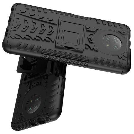 Двухкомпонентный Противоскользящий Гибридный Противоударный Чехол для Xiaomi Redmi Note 9T с Подставкой Черный