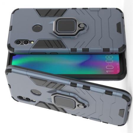 Двухслойный гибридный противоударный чехол с кольцом для пальца подставкой для Huawei Honor 10 Lite Серый