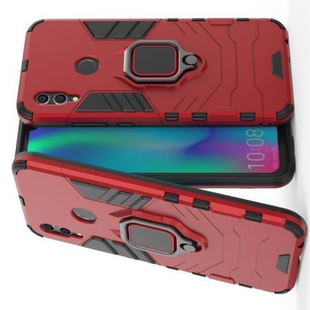 Двухслойный гибридный противоударный чехол с кольцом для пальца подставкой для Huawei Honor 10 Lite Красный