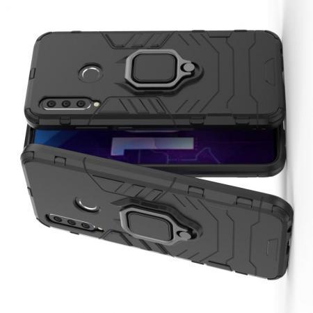 Двухслойный гибридный противоударный чехол с кольцом для пальца подставкой для Huawei Honor 10i Черный