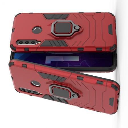 Двухслойный гибридный противоударный чехол с кольцом для пальца подставкой для Huawei Honor 10i Красный