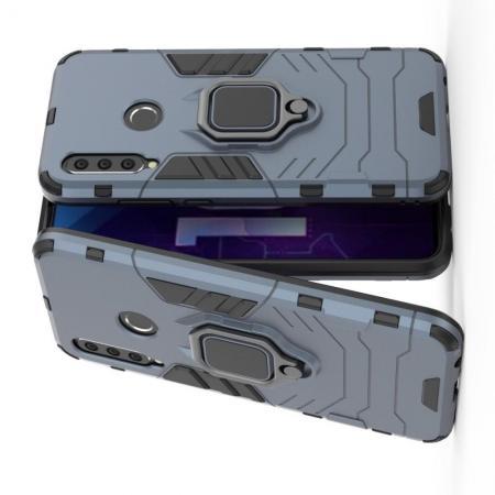Двухслойный гибридный противоударный чехол с кольцом для пальца подставкой для Huawei Honor 10i Серый