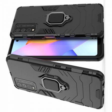 Двухслойный гибридный противоударный чехол с кольцом для пальца подставкой для Huawei Honor 10X Lite Черный