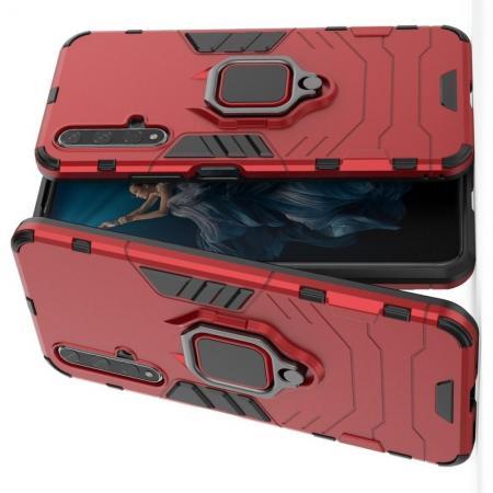 Двухслойный гибридный противоударный чехол с кольцом для пальца подставкой для Huawei Honor 20 Красный