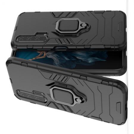 Двухслойный гибридный противоударный чехол с кольцом для пальца подставкой для Huawei Honor 20 Pro Черный