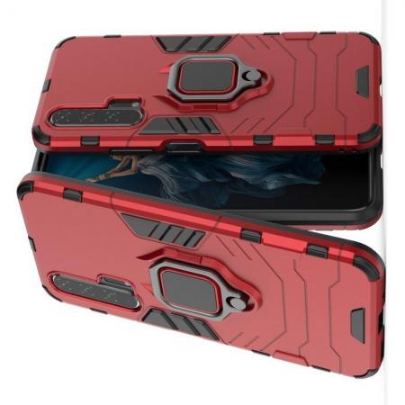 Двухслойный гибридный противоударный чехол с кольцом для пальца подставкой для Huawei Honor 20 Pro Красный