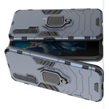 Двухслойный гибридный противоударный чехол с кольцом для пальца подставкой для Huawei Honor 20 Pro Серый