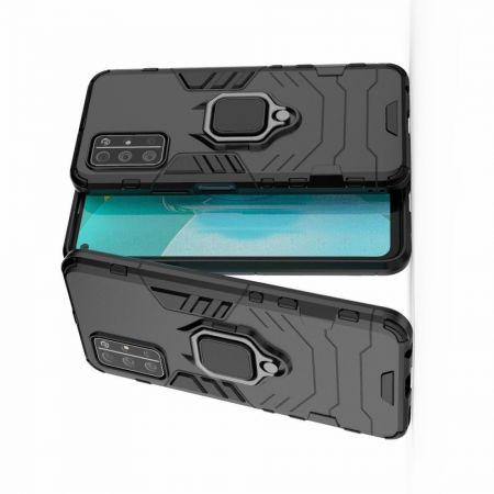 Двухслойный гибридный противоударный чехол с кольцом для пальца подставкой для Huawei Honor 30S Черный