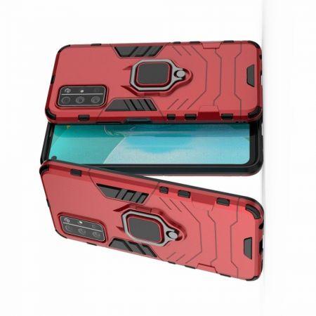 Двухслойный гибридный противоударный чехол с кольцом для пальца подставкой для Huawei Honor 30S Красный