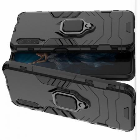 Двухслойный гибридный противоударный чехол с кольцом для пальца подставкой для Huawei Honor 9X Черный