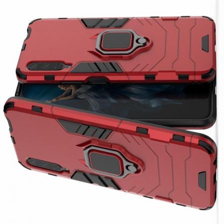 Двухслойный гибридный противоударный чехол с кольцом для пальца подставкой для Huawei Honor 9X Красный