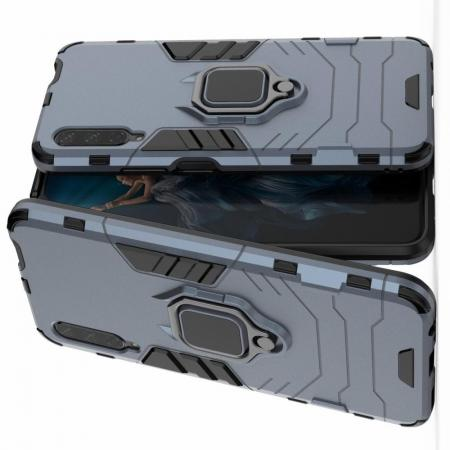 Двухслойный гибридный противоударный чехол с кольцом для пальца подставкой для Huawei Honor 9X Серый