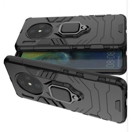 Двухслойный гибридный противоударный чехол с кольцом для пальца подставкой для Huawei Mate 30 Черный