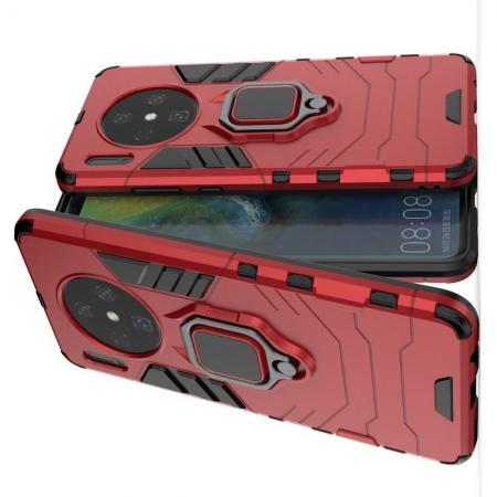 Двухслойный гибридный противоударный чехол с кольцом для пальца подставкой для Huawei Mate 30 Красный