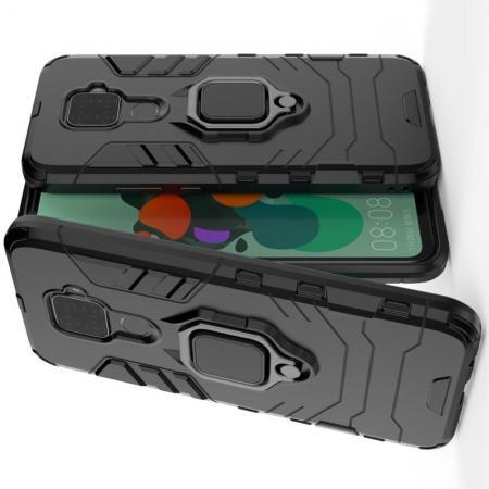 Двухслойный гибридный противоударный чехол с кольцом для пальца подставкой для Huawei Mate 30 Lite Черный