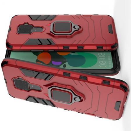 Двухслойный гибридный противоударный чехол с кольцом для пальца подставкой для Huawei Mate 30 Lite Красный