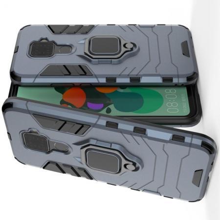 Двухслойный гибридный противоударный чехол с кольцом для пальца подставкой для Huawei Mate 30 Lite Синий
