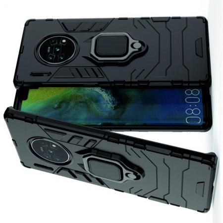 Двухслойный гибридный противоударный чехол с кольцом для пальца подставкой для Huawei Mate 30 Pro Черный