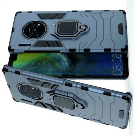 Двухслойный гибридный противоударный чехол с кольцом для пальца подставкой для Huawei Mate 30 Pro Синий