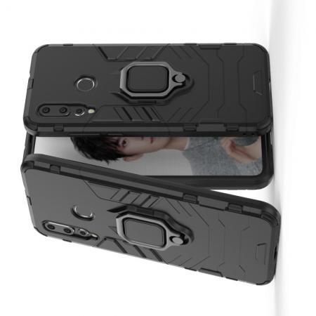 Двухслойный гибридный противоударный чехол с кольцом для пальца подставкой для Huawei Nova 4 Черный