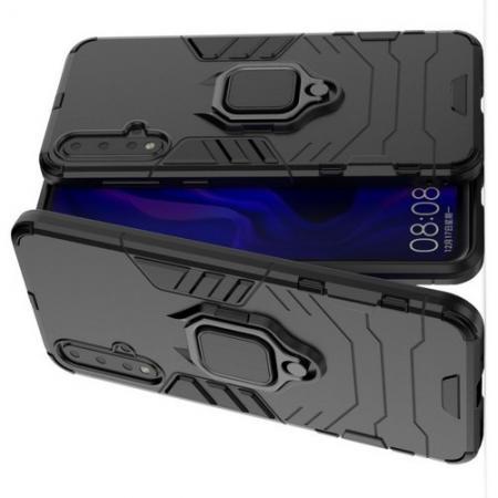 Двухслойный гибридный противоударный чехол с кольцом для пальца подставкой для Huawei Nova 5 Черный