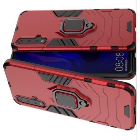 Двухслойный гибридный противоударный чехол с кольцом для пальца подставкой для Huawei Nova 5 Красный