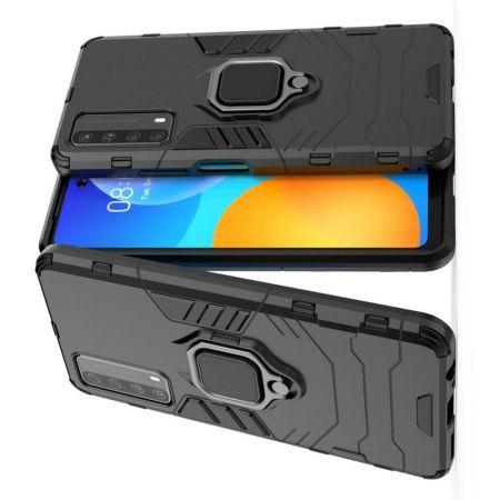 Двухслойный гибридный противоударный чехол с кольцом для пальца подставкой для Huawei P Smart 2021 Черный