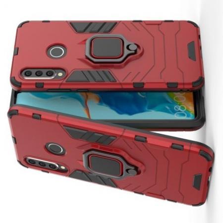 Двухслойный гибридный противоударный чехол с кольцом для пальца подставкой для Huawei P30 Lite Красный