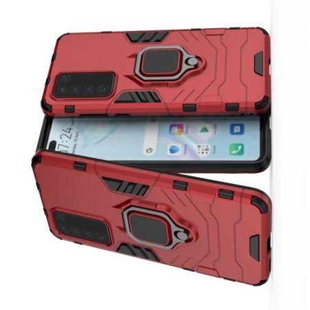 Двухслойный гибридный противоударный чехол с кольцом для пальца подставкой для Huawei P40 Красный