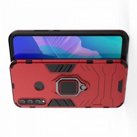 Двухслойный гибридный противоударный чехол с кольцом для пальца подставкой для Huawei P40 lite E Красный