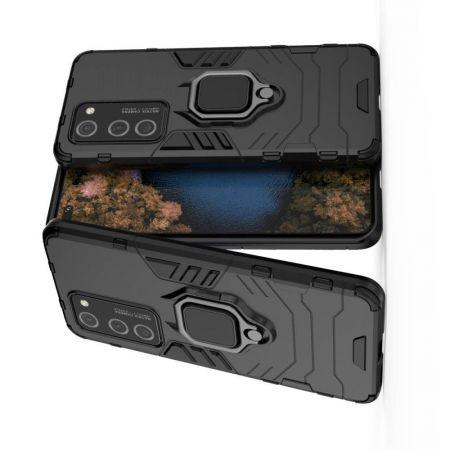 Двухслойный гибридный противоударный чехол с кольцом для пальца подставкой для Huawei P40 Pro Черный
