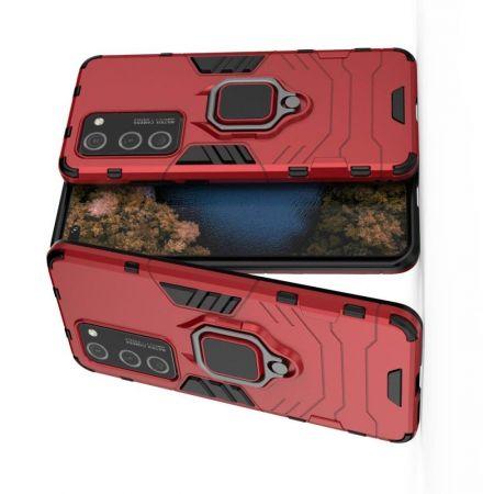 Двухслойный гибридный противоударный чехол с кольцом для пальца подставкой для Huawei P40 Pro Красный
