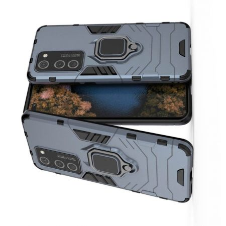 Двухслойный гибридный противоударный чехол с кольцом для пальца подставкой для Huawei P40 Pro Синий